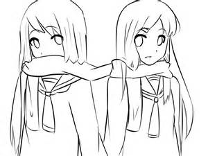 Anime Twin Girls Drawings sketch template