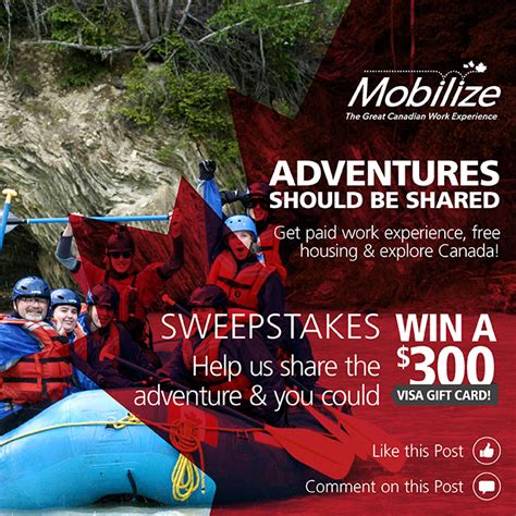 Do Canadian Visa Gift Cards Work In The Us - mobilize sweepstakes quot adventures should be shared quot mobilize