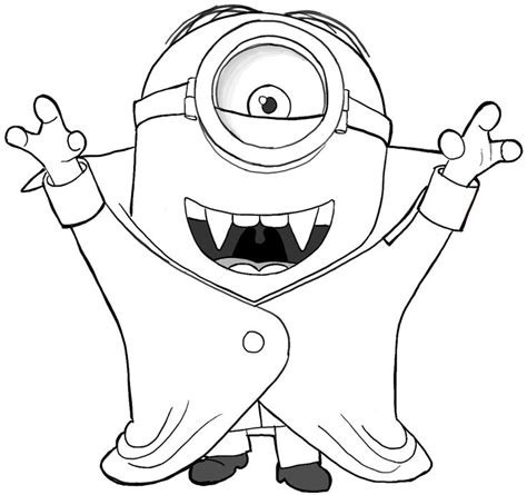 minion coloring page halloween finished drawing of stuart the minion as a vire