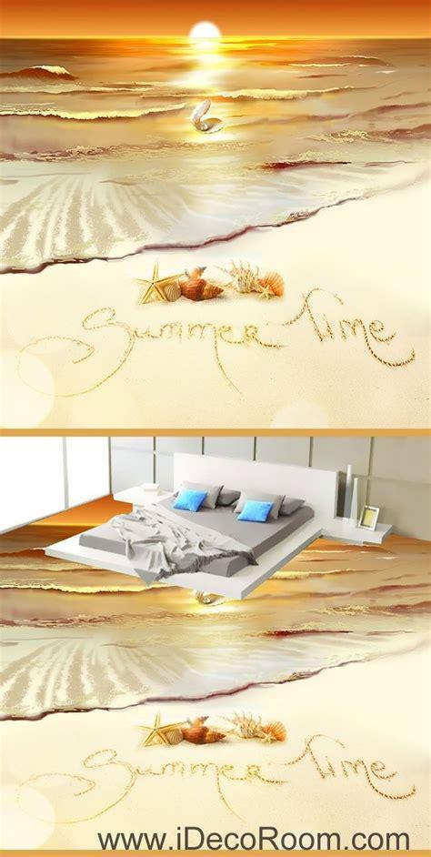 Summer Home Decor Summer Time Sunset Shell Pearl 00064 Floor Decals 3d