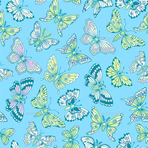 Decorative Butterflies With by Seamless Pattern With Decorative Butterflies Graphicriver
