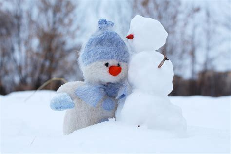 winter images free photo snowman snow two winter friends free