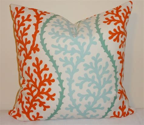 outdoor turquoise cororange coral pillow cushion  homeliving
