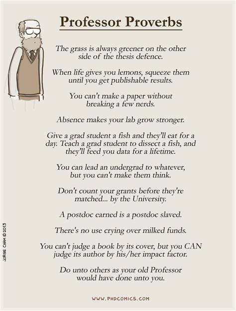 thesis acknowledgement funny phd comics professor proverbs