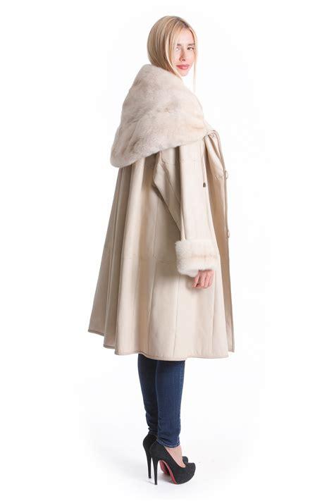 swing mantel luxus lammfell mantel wei 223 beige nerz fell