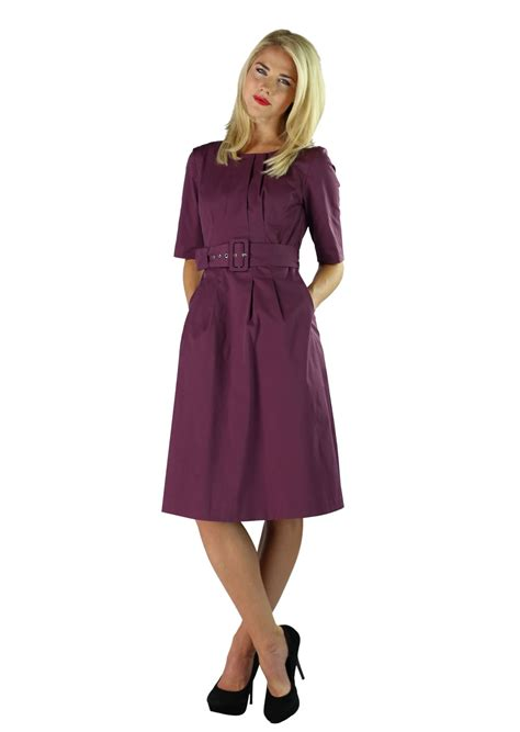 modest dress in plum purple