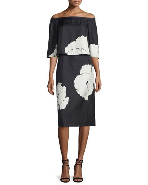 Amarsa Black Dress Dress Wanita tibi amara printed popover dress black neiman