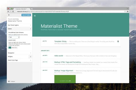 wordpress themes material design free materialist free material design wordpress theme