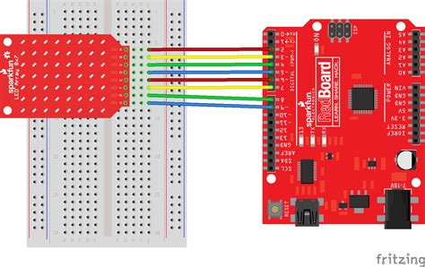 arduino tutorial array sparkfun led array 8x7 hookup guide learn sparkfun com