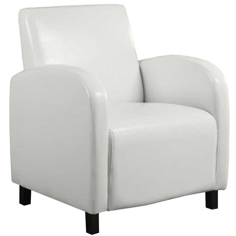 White Leather Accent Chair White Leather Look Accent Chair By Monarch Specialties In Leather Chairs