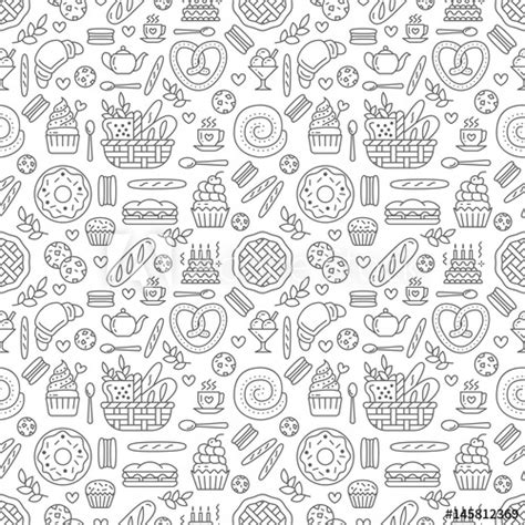 pattern of white color bakery seamless pattern food vector background of black