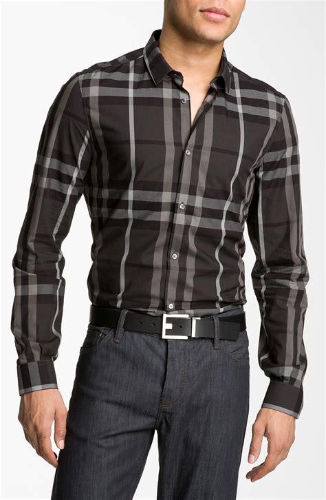 burberry pembury plaid sport shirt in black for