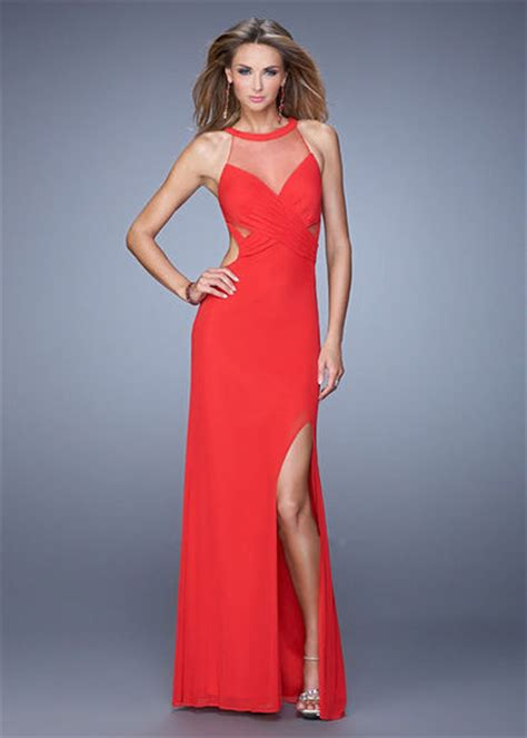 754 Dress Open Sude Halterneck side cutouts sheer halter neck open back high slit eveni la femme dress juxtapost