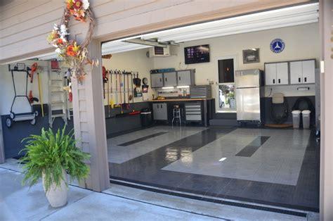 home garage workshop with racedeck garage flooring wall great looking garage with racedeck garage flooring by race