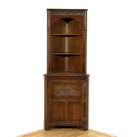 vintage oak corner open cupboard bookcase cabinet ebay