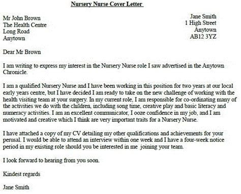 nursery nurse job application cover letter exle
