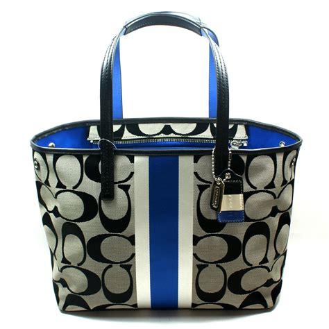 Coach Htons Stripe Medium Purse by Coach Htons Signature Stripe Medium Tote Bag Cobalt