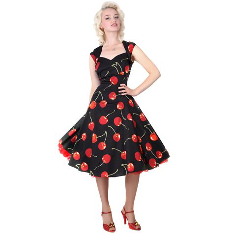 swing style dress collectif regina doll black red cherry stem vintage 1950s