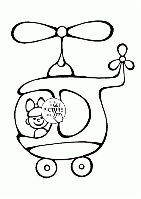 preschool helicopter coloring pages cartoon helicopter with pilot coloring page for