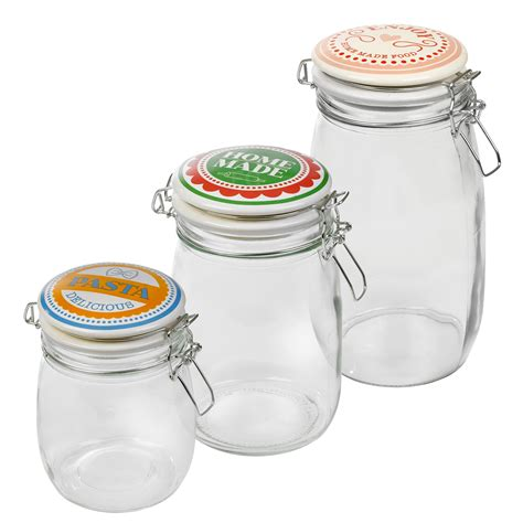 Jar With Ceramic Lid Mj 21c retro glass storage jar metal cl airtight silicone seal kitchen food tea rice ebay