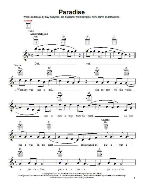 coldplay paradise chord paradise sheet music direct