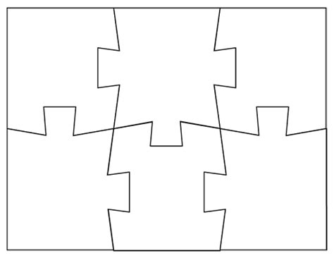 Free Coloring Pages Of 6 Pieces Puzzle Jigsaw Puzzle Template Free