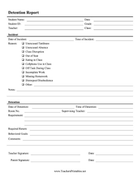 detention slip template printable this detailed detention slip lists behavior incident