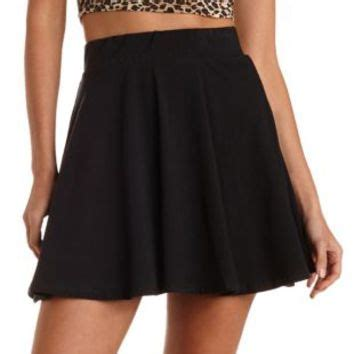 black high waisted cotton skater skirt by from russe