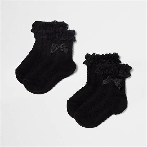 Bow Socks mini black frill bow socks multipack baby