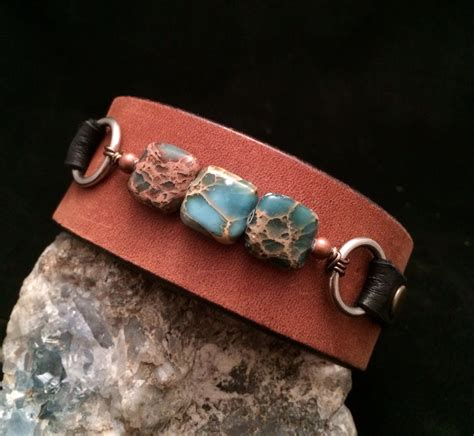 Handmade Cuff Bracelets - handmade one of a leather cuff bracelet with stones
