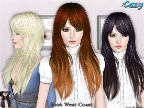 the sims 3 free custom content hair colors cazy s west coast hairstyle set