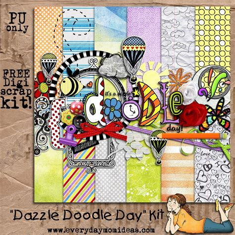 doodle freebies dazzle doodle day page digital scrapbooking