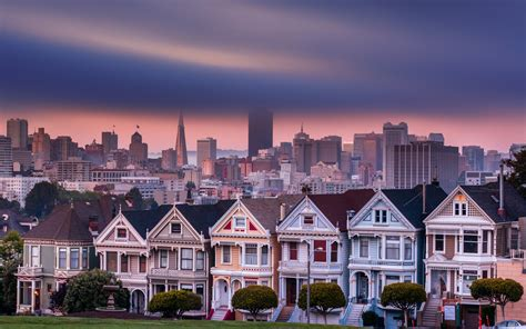 san francisco city cities buildings building clouds houses