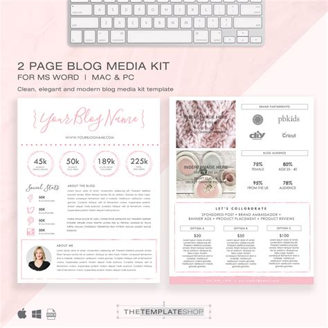 media kit template 2 page blog media kit press kit