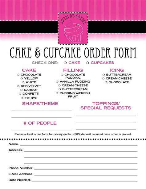 cupcake invoice template 78 images about cake order forms on book