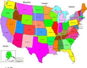 united states map names map of united states of america with time zones and state
