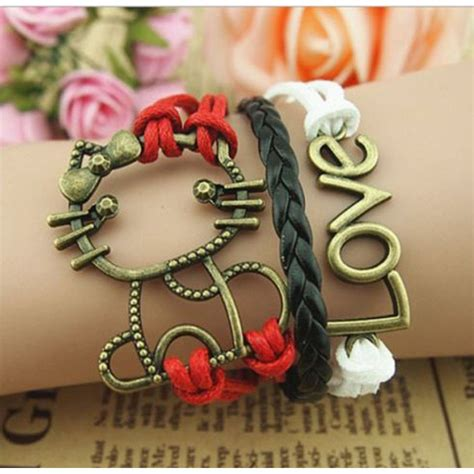 Gelang Vintage Friendship Charm Leather Bracelet Bangle gelang vintage cat leather bracelet bangle q7 multi color jakartanotebook