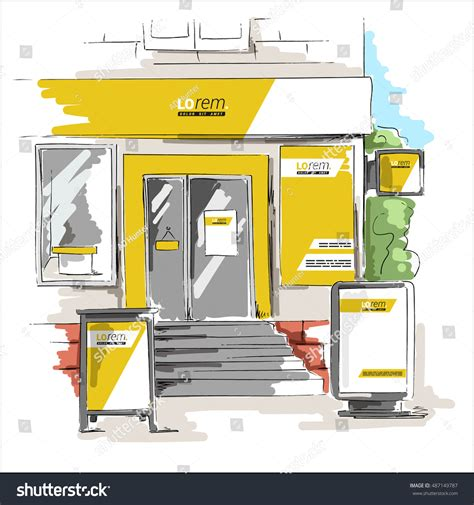 store layout elements yellow store design elements outdoor advertising stock