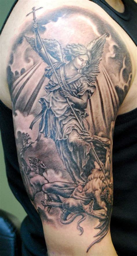 Angel Tattoo Half Sleeve Designs | classic half sleeve guardian angel tattoo designs tattoo