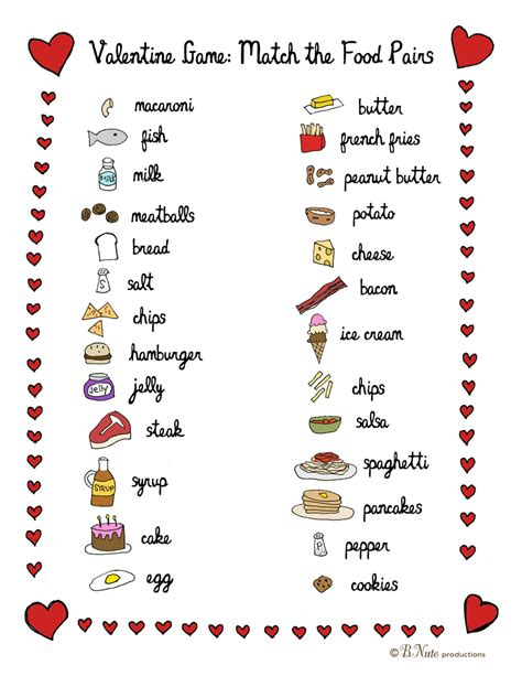 free printable christian valentine games for adults bnute productions printable valentine food pair game