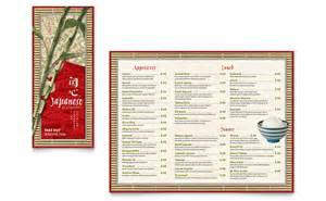 menu publisher template japanese restaurant take out brochure template word