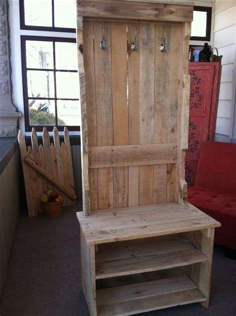 entry bench with coat rack coat rack bench pallets yep we did this out of