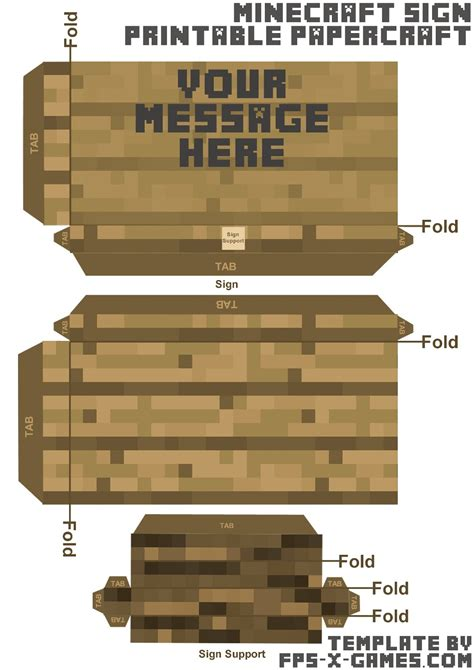 Free Minecraft Papercraft Templates - minecraft papercraft your message here sign template cut out