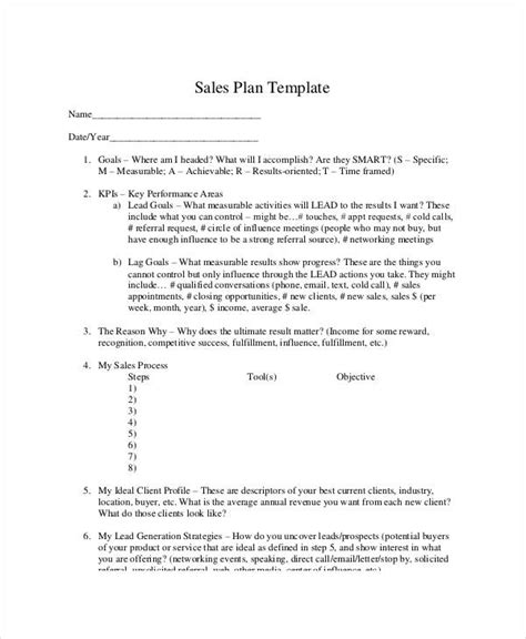 individual sales plan template personal sales plan templates 5 free pdf format