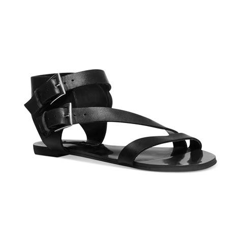 steve madden flat sandals steven by steve madden barclay flat sandals in black lyst