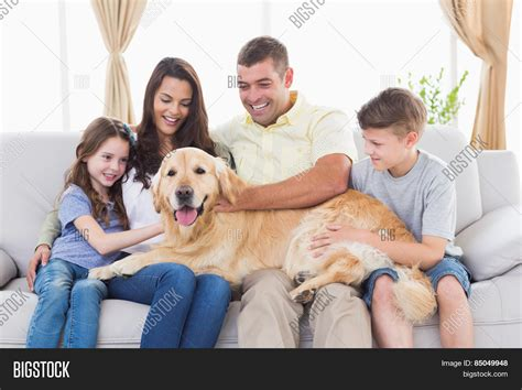 family in living room happy family four stroking golden image photo bigstock