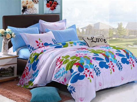 girls queen size bed various colorful beautiful flowers teen girls bedding sets 4pcs full queen size