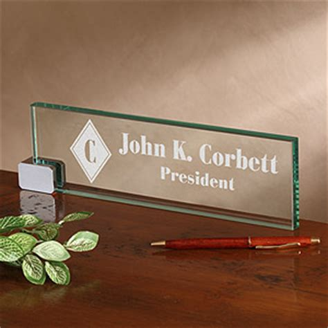 personalised office desk gifts personalized executive glass name plate