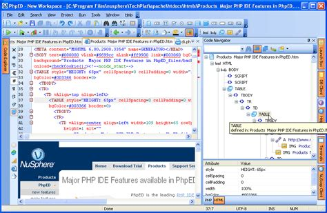 html code tree in code navigator