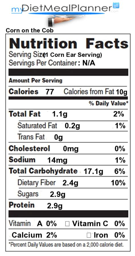 corn calories iron in corn on the cob nutrition facts for corn on the cob